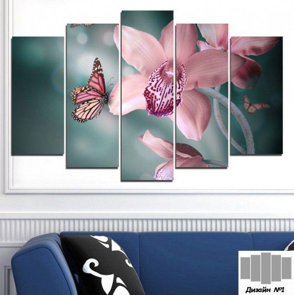 Декоративно пано за стена с розова орхидея и пеперуда